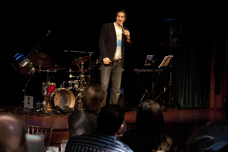 Comedian Gary Gulman performs at VonnegutFest\'s Timequake Clambake at Indiana Landmarks\' Cook Theater, Saturday, Nov. 9, 2013.