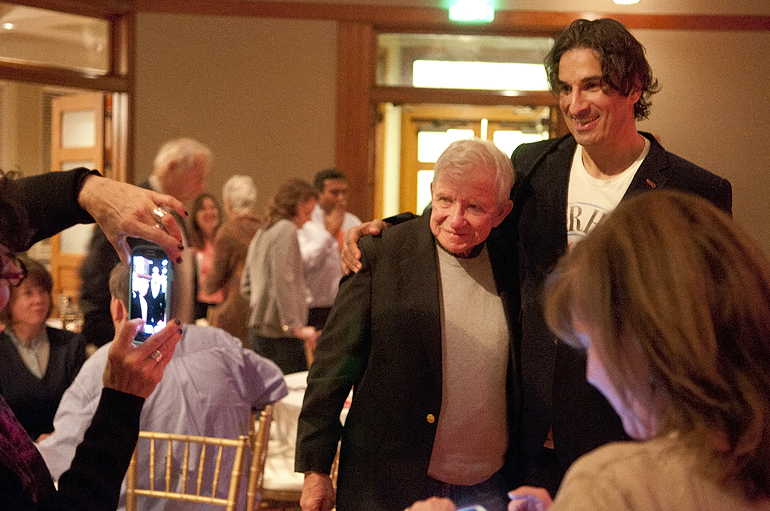 Comedian Gary Gulman (right) gets a picture with author Dan Wakefield at VonnegutFest\'s Timequake Clambake at Indiana Landmarks\' Cook Theater, Saturday, Nov. 9, 2013. Wakefield, a friend of Kurt Vonnegut 10 years his junior, wrote the introduction for \